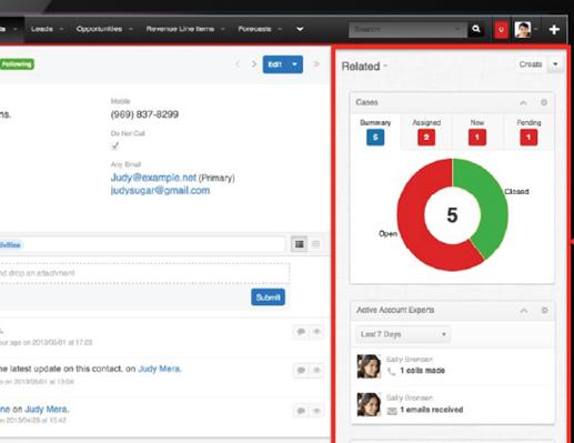 Afbeelding SugarCRM user interface, intelligence panel.